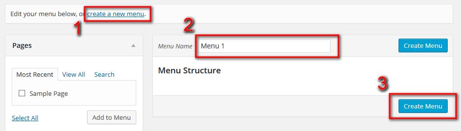 new menu in WordPress