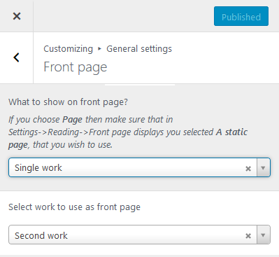 Setting front page in Customizer