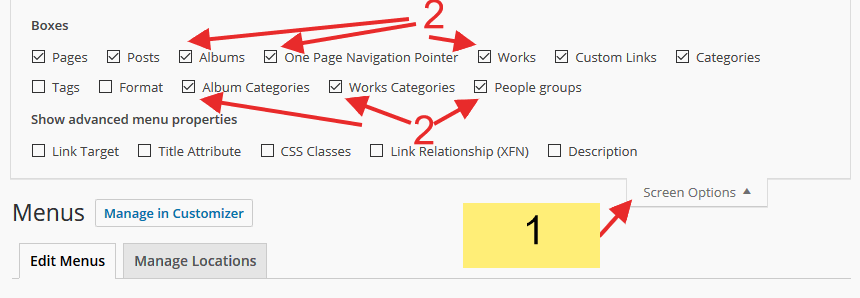 Enabling theme Custom Post types in menu