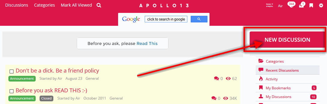 How to start new topic on Apollo13 Themes support forum