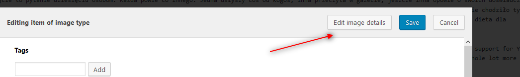 Use a marked button to edit your image details